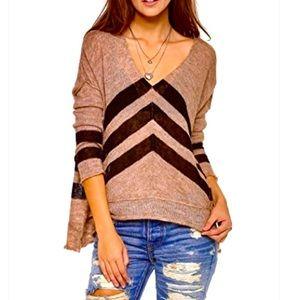 Free People Alpaca V Stripe Sweater